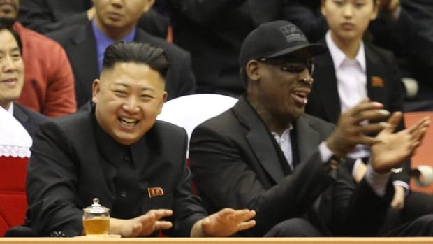 Former NBA star Dennis Rodman, right, says North Korean leader Kim Jong Un, left, has asked him to train his players to compete in the 2016 Olympics.