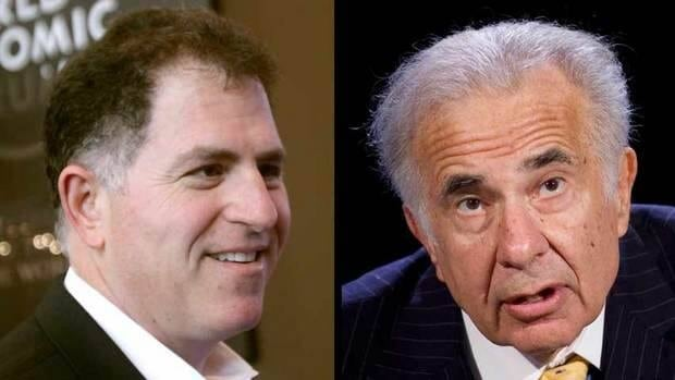 Carl Icahn, right, has been trying to block Dell founder Michael Dell, left, from taking the computer company private but said on Monday he doesn't have the support of enough shareholders and was abandoning the fight.