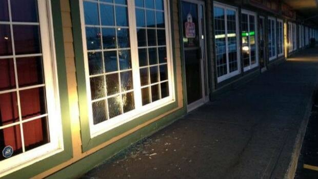 This window at a Mount Pearl bar was damaged during an apparent brawl early Friday morning.