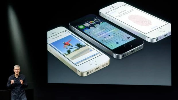 Tim Cook, CEO of Apple, spoke on stage during the introduction of the new iPhone 5s, which features a new chip, the A7, that is up to twice as fast as the A6; an upgraded camera; and a fingerprint scanner.