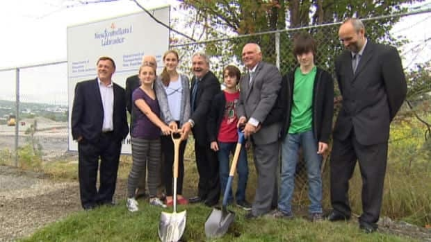 Government and municipal politicians, as well as school district and school council representatives participated in a ceremonial groundbreaking in St. John's on Friday morning.