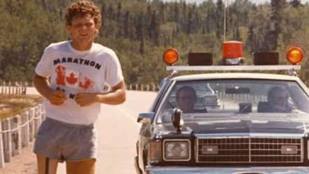 Terry Fox on his Marathon of Hope in 1980. Fox's efforts started an annual fundraiser for cancer research.