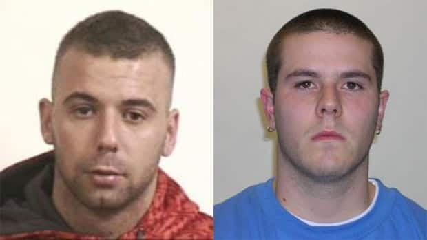 Police have been looking for 28-year-old Brandon Joseph Mombourquette (left) and 26-year-old Andrew Jason Hudder (right) for months for two separate incidents.