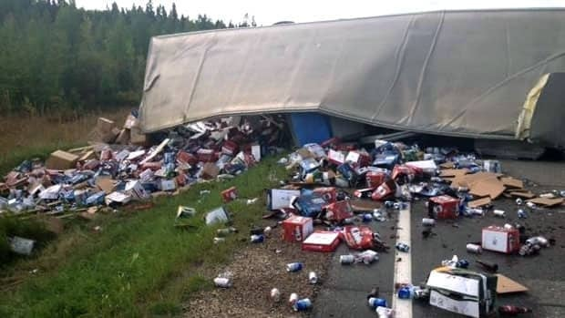 A truck hauling beer overturned on Highway 10 near Cranberry, Man. on Wednesday morning.