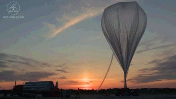 A stratospheric balloon is prepared for launch in this image taken from a video filmed at the Timmins Stratospheric Balloon Base in Ontario.