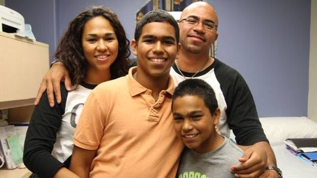 The Rios family (From left to right: Jenny, Alex, Matthew and Alex) spent five months living in shelters before finding a home.