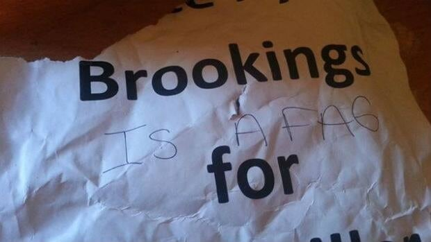 The sign that Kyle Brookings found defaced by his mailbox.
