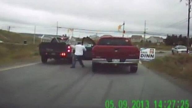 A confrontation between the driver of this pickup truck and the driver of a silver SUV was captured on video and posted online.