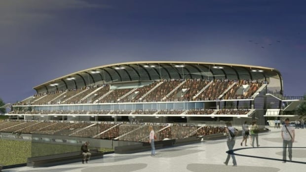 The new stadium's renovations include a curved roof above the south side stands. It's set to open in the summer of 2014. (Supplied image)