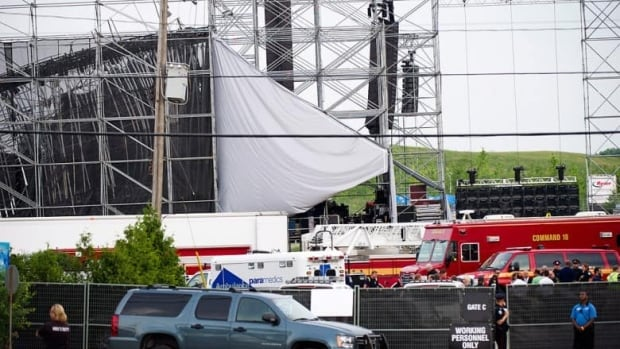 A stage at Toronto's Downsview Park collapsed before a sold out concert by popular rock group Radiohead on June 16, 2012. (Nathan Denette/Canadian Press)