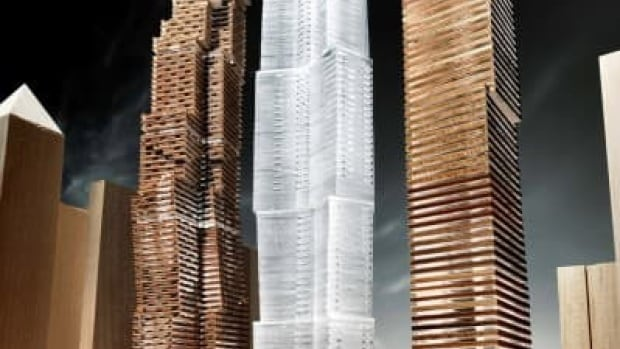 This rendering shows a previous version of the Mirvish+Gehry project that called for three condo towers, since scaled back to two towers in response to local objections.