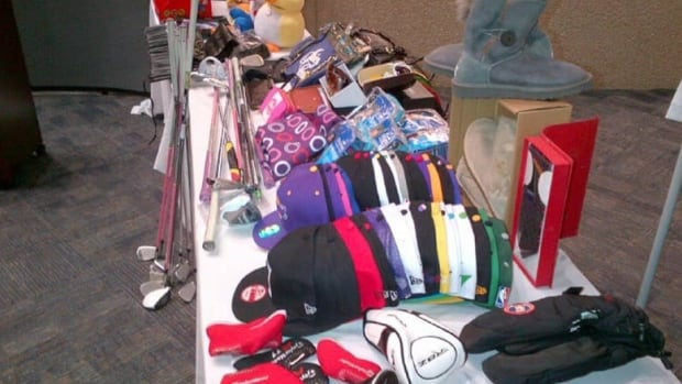 This photo shows counterfeit goods seized by the RCMP in 2017. A U.S. government report lists Markham's Pacific Mall as one of the most notorious locations in the world for selling counterfeit and pirated goods.