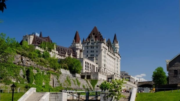 The Château Laurier, as seen from the Rideau Canal Waterway, was first opened by Sir Wilfrid Laurier in 1912.