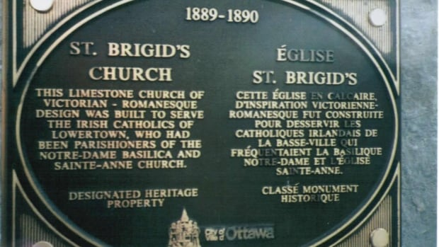 This plaque was stolen from the former church's stone wall this week, but it doesn't have much value as scrap metal, according to Patrick McDonald.