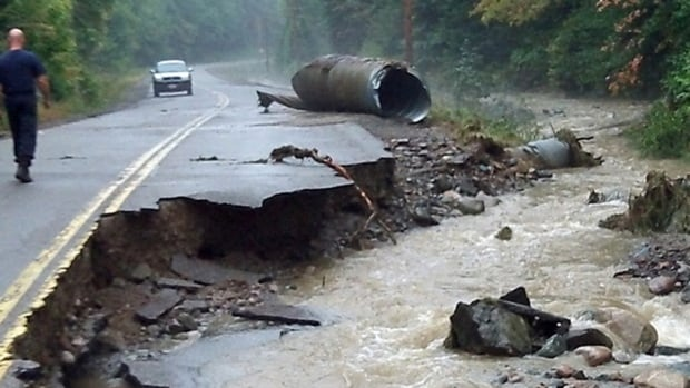 Part of Highway 552 in northeastern Ontario was washed out by heavy rains last week.