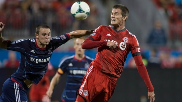 Justin Braun, right, had one of two shots on goal for Toronto FC in their loss to the New York Red Bulls on Saturday.
