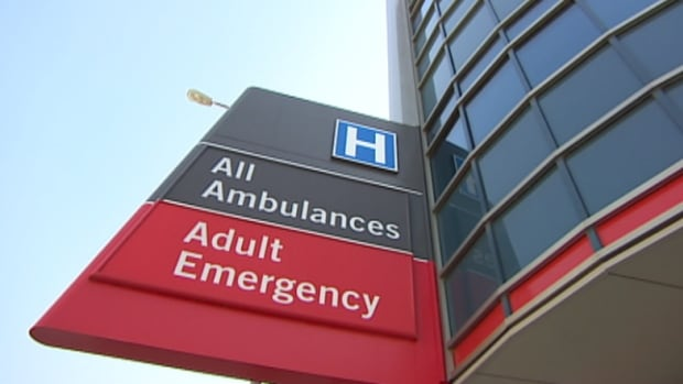 Exterior sign for the emergency room at Winnipeg's Health Sciences Centre.