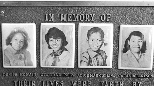 A 1977 file photo shows a memorial plaque at the Sixteenth Street Baptist Church in Birmingham, Ala. for Denise McNair, Cynthia Wesley, Addie Mae Collins and Carole Robertson, the four girls killed in a bombing at the church in 1963.