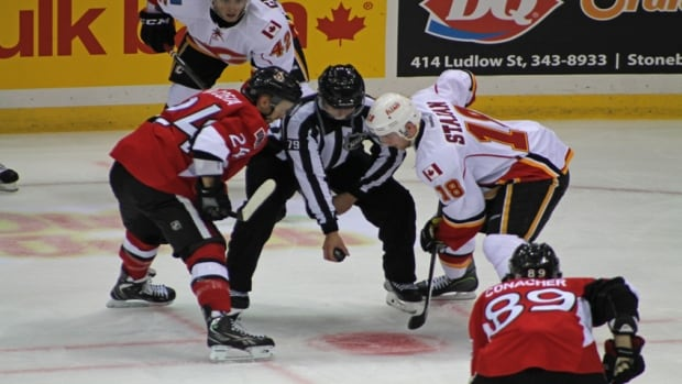 The Ottawa Senators beat the Calgary Flames 4-2 at Credit Union Centre in Saskatoon on Monday night.