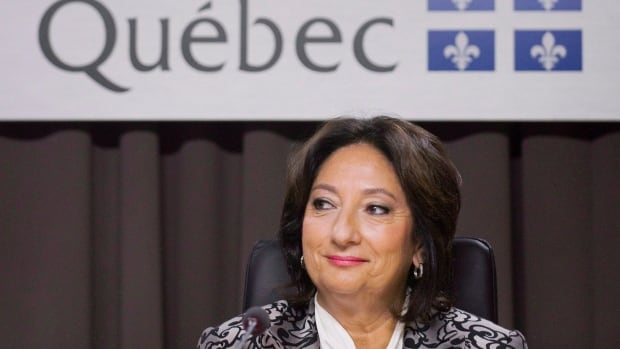 Justice France Charbonneau is shown at Quebec's corruption inquiry, where the provincial Liberals are among several political parties to have been accused of illegal financing. Police conducted a search for evidence of illegal fundraising in July.