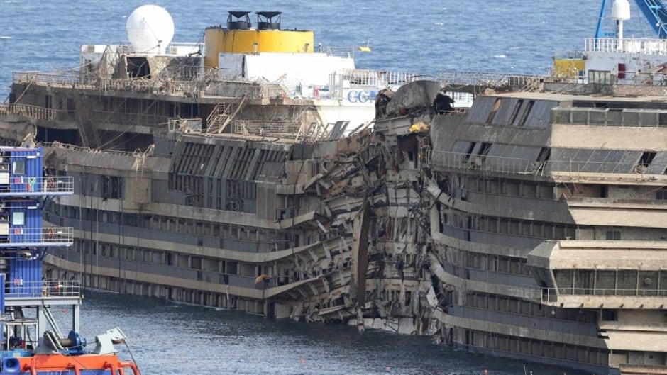 Costa Concordia upright in salvage operation off Italian