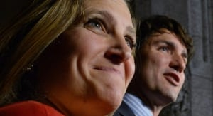 Chrystia Freeland and Justin Trudeau