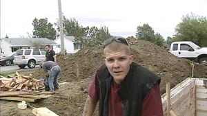 Contractor Shawn Penney helping with renovations for the Whalen family in Gander following crash