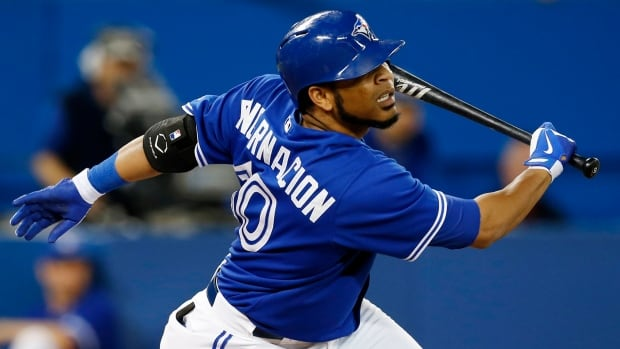 Toronto Blue Jays Edwin Encarnacion lets go of the bat after a swing during a game against the Baltimore Orioles on Sunday. With a nagging wrist injury causing him to lose grip of the bat, Encarnacion has been shut down for the season and will have wrist surgery.