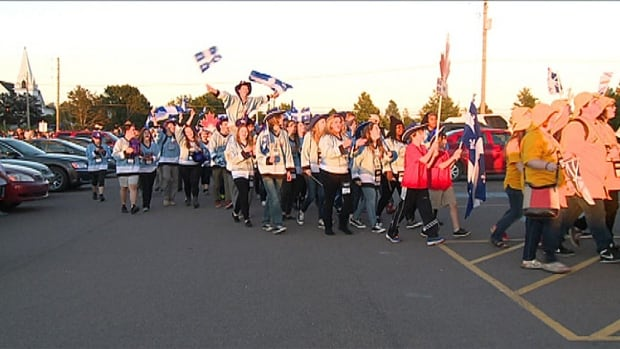 Students march to open the Canadian Student Leadership Conference in Montague.