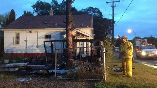 A family was awoken Wednesday morning to find a fire in their backyard. It destroyed a shed, but nobody was hurt.