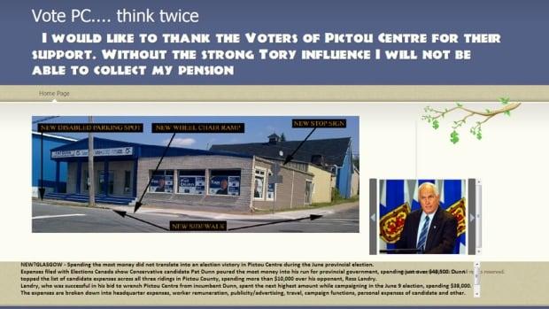 Pat Dunn's original website now makes fun of Tory policies.