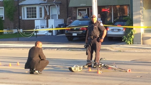 A cyclist is dead after being struck by a vehicle in the city's west end on Wednesday afternoon.