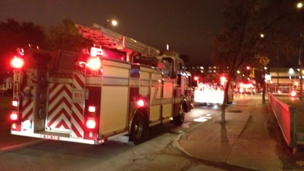 Fire trucks outside St. Boniface Hospital on Wednesday night.