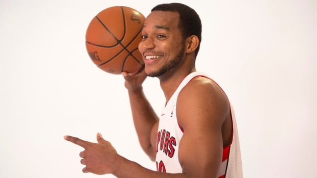 Chris Wright, seen here posing for team photos during media day last year, re-signed with the Toronto Raptors on Thursday.