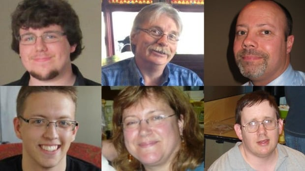 This composite image shows, clockwise from top left, bus-train crash victims Kyle Nash, Michael Bleakney, bus driver Dave Woodard, Rob More, Karen Krzyzewski and Connor Boyd. Their families all filed lawsuits related to the crash.
