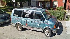 Religious symbols on van