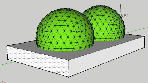 An illustration of what the two geodesic greenhouse domes Nathan Lawlor proposes to build in Pangnirtung, Nunavut, would look like.