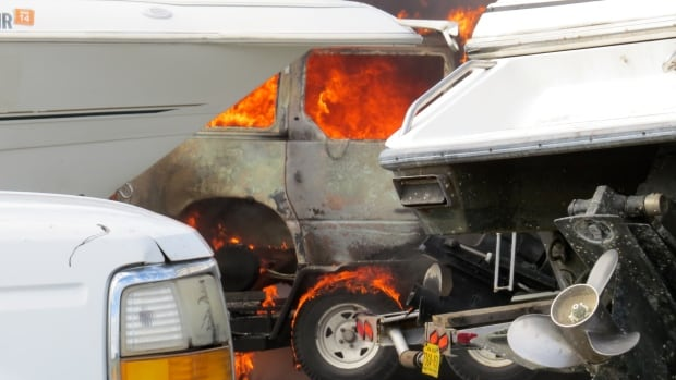 One man was critically inured when the vehicle he was working on at a mechanic shop burst into flames.