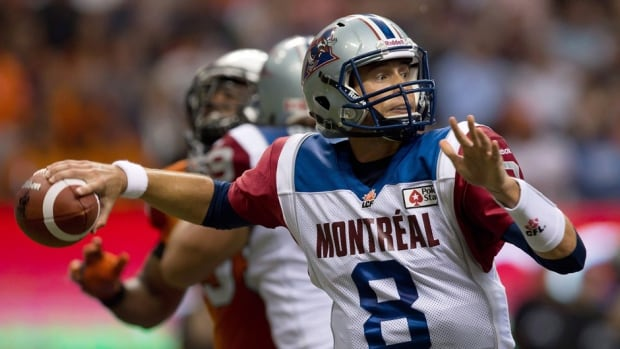 Montreal Alouettes' quarterback Josh Neiswander passes against the B.C. Lions in Vancouver, on Sunday September 15, 2013.