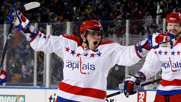 Washington Capitals forward Alex Ovechkin celebrates as his squad earned a 3-1 won over the Penguins in the 2011 NHL Winter Classic in Pittsburgh.