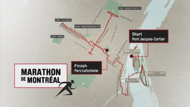 Sunday's annual Oasis Rock'n'Roll Montreal Marathon and Half Marathon will start on the Jacques-Cartier Bridge at 8:30 a.m. and all roads are expected to be reopened by 4:00 p.m.