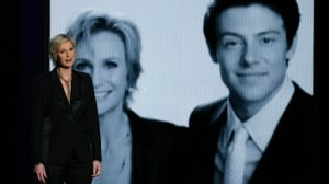 Actress Jane Lynch delivers a tribute to fellow Glee star Cory Monteith, who died in July of this year, at the 65th Primetime Emmy Awards in Los Angeles on Sept. 22, 2013.