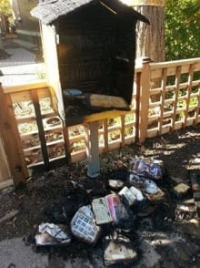 Neighbourhood mini-library burned