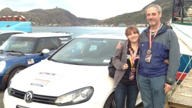 Don Sawyer with his daughter and co-driver Skye Sawyer in St. John's on Saturday after finishing Targa Newfoundland 2013.