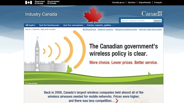 Industry Canada site on wireless spectrum auction
