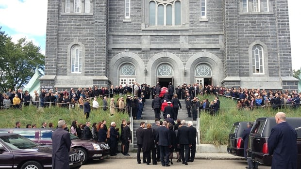 Funeral services were held today for two men who died after their helicopter crashed into the Arctic Ocean.