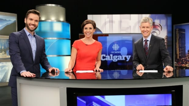 Weather specialist Craig Larkins, left, joins anchor team Rosa Marchitelli and Rob Brown as they make their debut today on CBC News Calgary at 5, 5:30 and 6.