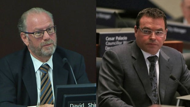 Toronto councillors David Shiner, left, and Giorgio Mammoliti both rent apartments from a company that does millions of dollars in business with the city. Over the years, they've cast nearly a dozen votes on matters involving the company or its affiliates.