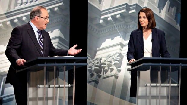 NDP Leader Brian Mason and Wildrose Leader Danielle Smith, seen here debating in the lead up to the 2012 provincial election, are holding a series of debates around the province.