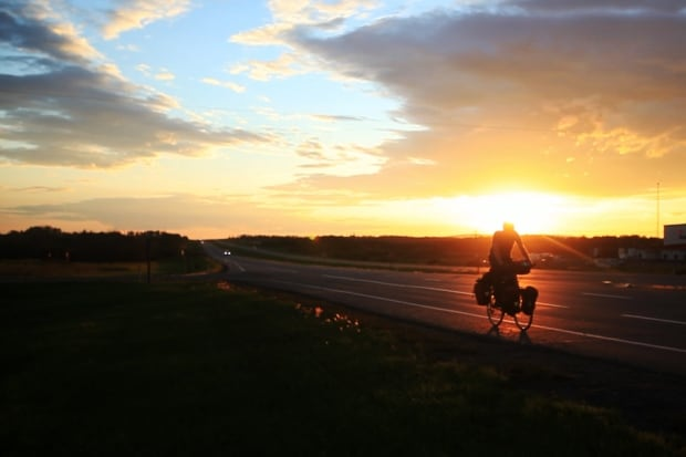 Cyclist Dave Gill in Manitoba
